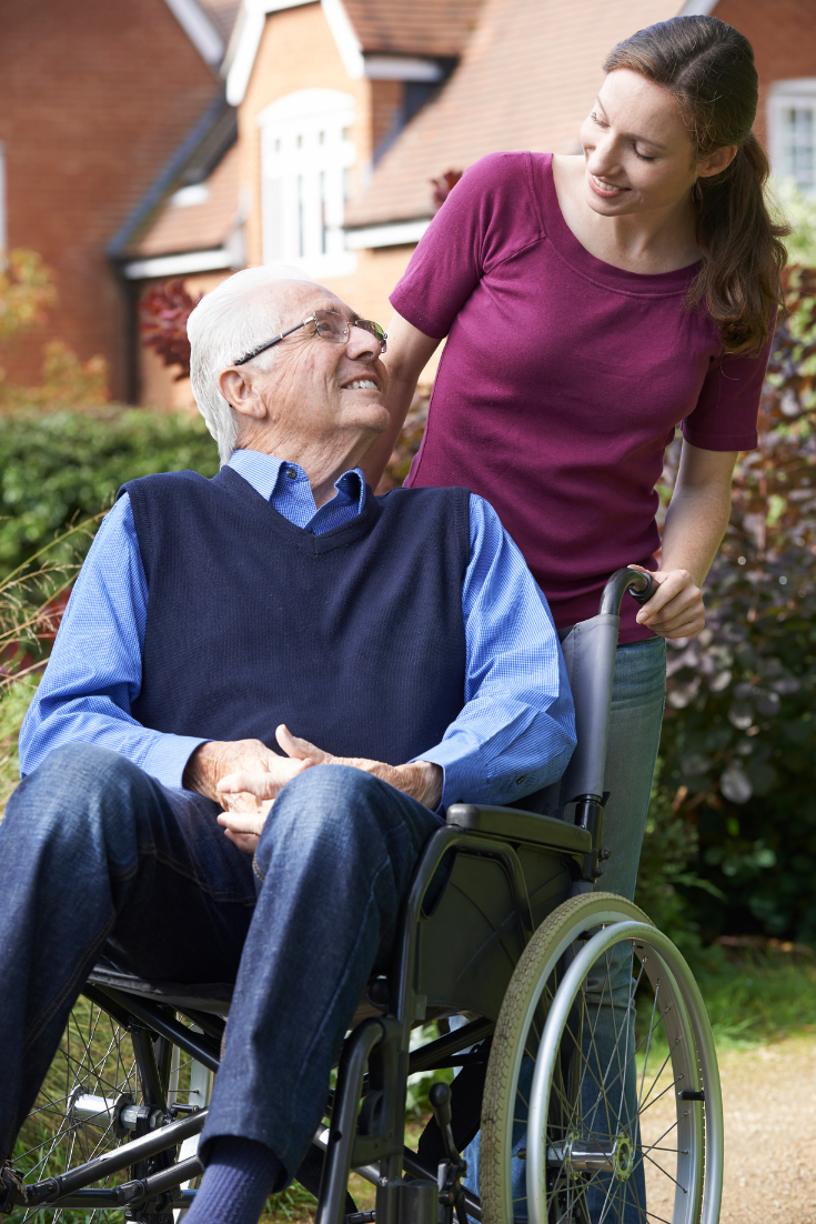 Senior using durable medical equipment to stay at home with their child.