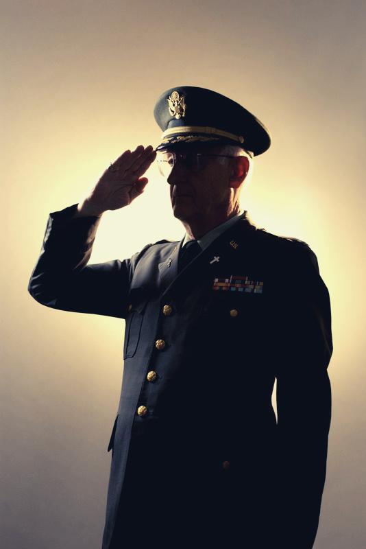 Veteran saluting symbolizing homemaker program